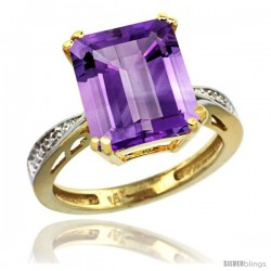 10k Yellow Gold Diamond Amethyst Ring 5.83 ct Emerald Shape 12x10 Stone 1/2 in wide -Style Cy901149