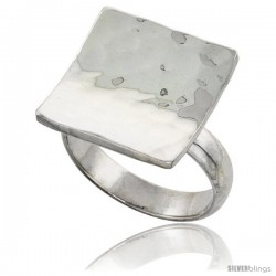 Sterling Silver Concave Square Ring 3/4 in wide