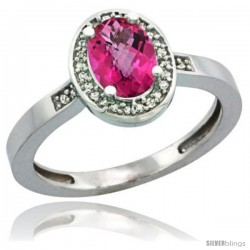 Sterling Silver Diamond Natural Pink Topaz Ring 1 ct 7x5 Stone 1/2 in wide