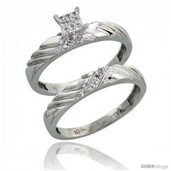 10k White Gold Diamond Engagement Rings Set 2-Piece 0.08 cttw Brilliant Cut, 1/8 in wide -Style Ljw018e2