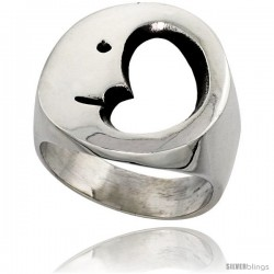 Sterling Silver Crescent Moon Ring 3/4 in wide