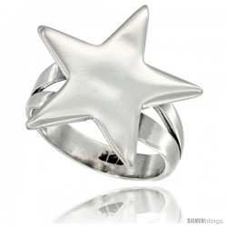 Sterling Silver Five-Point Star Ring 3/4 in wide