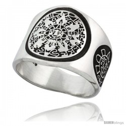 Sterling Silver Aztec Calendar Men's Ring Mayan Sun Sides, 18mm wide