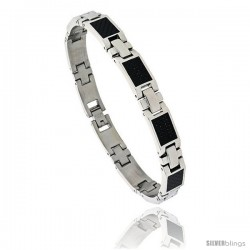 Stainless Steel Carbon Fiber Bracelet for men 3/8 in wide, 8 1/2 in long
