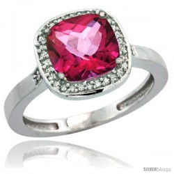 Sterling Silver Diamond Natural Pink Topaz Ring 2.08 ct Checkerboard Cushion 8mm Stone 1/2.08 in wide