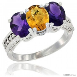 10K White Gold Natural Whisky Quartz & Amethyst Sides Ring 3-Stone Oval 7x5 mm Diamond Accent