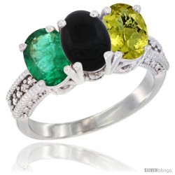 14K White Gold Natural Emerald, Black Onyx & Lemon Quartz Ring 3-Stone 7x5 mm Oval Diamond Accent
