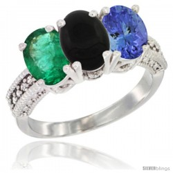 14K White Gold Natural Emerald, Black Onyx & Tanzanite Ring 3-Stone 7x5 mm Oval Diamond Accent