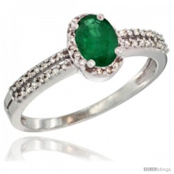 14k White Gold Ladies Natural Emerald Ring oval 6x4 Stone Diamond Accent -Style Cw415178