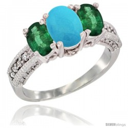 14k White Gold Ladies Oval Natural Turquoise 3-Stone Ring with Emerald Sides Diamond Accent