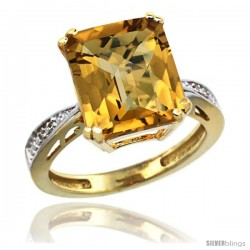 10k Yellow Gold Diamond Whisky Quartz Ring 5.83 ct Emerald Shape 12x10 Stone 1/2 in wide -Style Cy926149