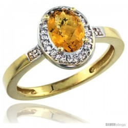 10k Yellow Gold Diamond Whisky Quartz Ring 1 ct 7x5 Stone 1/2 in wide