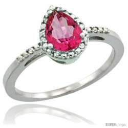 Sterling Silver Diamond Natural Pink Topaz Ring 0.59 ct Tear Drop 7x5 Stone 3/8 in wide