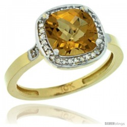 10k Yellow Gold Diamond Whisky Quartz Ring 2.08 ct Checkerboard Cushion 8mm Stone 1/2.08 in wide