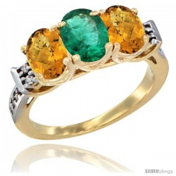 10K Yellow Gold Natural Emerald & Whisky Quartz Sides Ring 3-Stone Oval 7x5 mm Diamond Accent