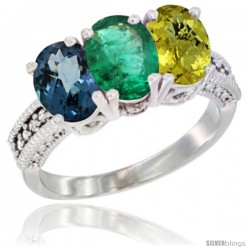 14K White Gold Natural London Blue Topaz, Emerald & Lemon Quartz Ring 3-Stone 7x5 mm Oval Diamond Accent