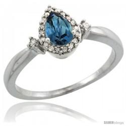14k White Gold Diamond London Blue Topaz Ring 0.33 ct Tear Drop 6x4 Stone 3/8 in wide