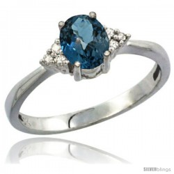 14k White Gold Ladies Natural London Blue Topaz Ring oval 7x5 Stone Diamond Accent
