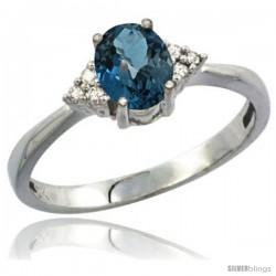 14k White Gold Ladies Natural London Blue Topaz Ring oval 7x5 Stone Diamond Accent