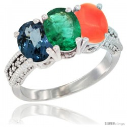14K White Gold Natural London Blue Topaz, Emerald & Coral Ring 3-Stone 7x5 mm Oval Diamond Accent