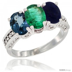14K White Gold Natural London Blue Topaz, Emerald & Lapis Ring 3-Stone 7x5 mm Oval Diamond Accent