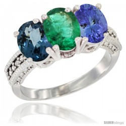 14K White Gold Natural London Blue Topaz, Emerald & Tanzanite Ring 3-Stone 7x5 mm Oval Diamond Accent