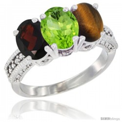 14K White Gold Natural Garnet, Peridot & Tiger Eye Ring 3-Stone 7x5 mm Oval Diamond Accent