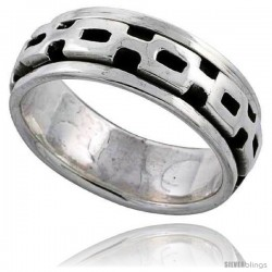Sterling Silver Panther Link Design Spinner Ring 3/8 wide