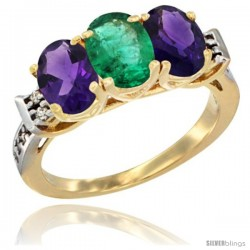10K Yellow Gold Natural Emerald & Amethyst Sides Ring 3-Stone Oval 7x5 mm Diamond Accent