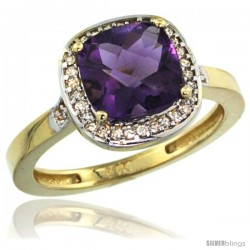 10k Yellow Gold Diamond Amethyst Ring 2.08 ct Checkerboard Cushion 8mm Stone 1/2.08 in wide