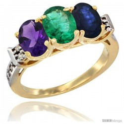 10K Yellow Gold Natural Amethyst, Emerald & Blue Sapphire Ring 3-Stone Oval 7x5 mm Diamond Accent