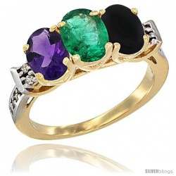 10K Yellow Gold Natural Amethyst, Emerald & Black Onyx Ring 3-Stone Oval 7x5 mm Diamond Accent
