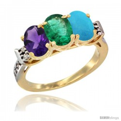 10K Yellow Gold Natural Amethyst, Emerald & Turquoise Ring 3-Stone Oval 7x5 mm Diamond Accent
