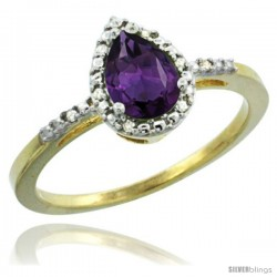10k Yellow Gold Diamond Amethyst Ring 0.59 ct Tear Drop 7x5 Stone 3/8 in wide