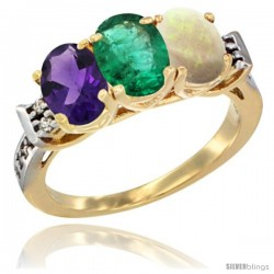 10K Yellow Gold Natural Amethyst, Emerald & Opal Ring 3-Stone Oval 7x5 mm Diamond Accent