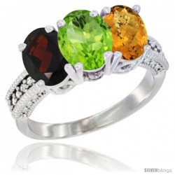 14K White Gold Natural Garnet, Peridot & Whisky Quartz Ring 3-Stone 7x5 mm Oval Diamond Accent