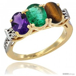 10K Yellow Gold Natural Amethyst, Emerald & Tiger Eye Ring 3-Stone Oval 7x5 mm Diamond Accent