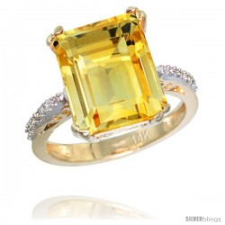 14k Yellow Gold Diamond Citrine Ring 5.83 ct Emerald Shape 12x10 Stone 1/2 in wide