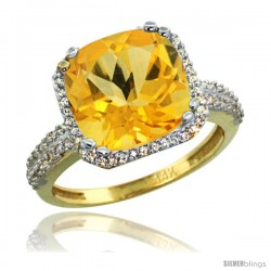 14k Yellow Gold Diamond Halo Citrine Ring Checkerboard Cushion 11 mm 5.85 ct 1/2 in wide
