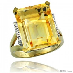14k Yellow Gold Diamond Citrine Ring 12 ct Emerald Cut 16x12 stone 3/4 in wide