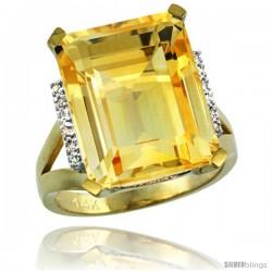 14k Yellow Gold Diamond Citrine Ring 12 ct Emerald Cut 16x12 stone 3/4 in wide