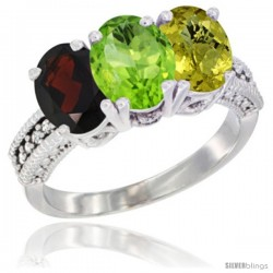 14K White Gold Natural Garnet, Peridot & Lemon Quartz Ring 3-Stone 7x5 mm Oval Diamond Accent