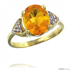 14k Yellow Gold Diamond Citrine Ring 2.40 ct Oval 10x8 Stone 3/8 in wide