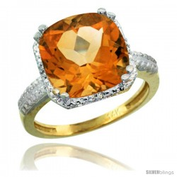 14k Yellow Gold Diamond Citrine Ring 5.94 ct Checkerboard Cushion 11 mm Stone 1/2 in wide