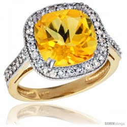 14k Yellow Gold Diamond Halo Citrine Ring Checkerboard Cushion 9 mm 2.4 ct 1/2 in wide