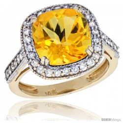 14k Yellow Gold Diamond Halo Citrine Ring Cushion Shape 10 mm 4.5 ct 1/2 in wide