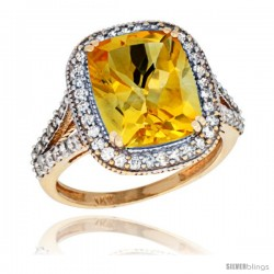 14k Yellow Gold Diamond Halo Citrine Ring Checkerboard Cushion 12x10 4.8 ct 3/4 in wide