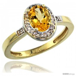 14k Yellow Gold Diamond Citrine Ring 1 ct 7x5 Stone 1/2 in wide