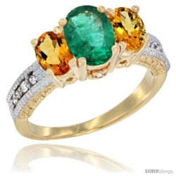 14k Yellow Gold Ladies Oval Natural Emerald 3-Stone Ring with Citrine Sides Diamond Accent