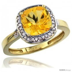 14k Yellow Gold Diamond Citrine Ring 2.08 ct Checkerboard Cushion 8mm Stone 1/2.08 in wide